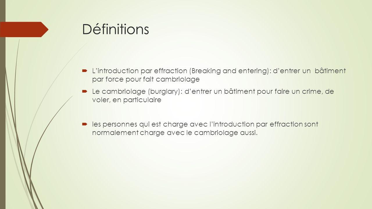 Definitions Le vol: laction de prend quelque chose sans permission Le méfait (misdemeanor): un crime mineur qui est punissable par une amende ou un peine de prison du comte au maximum de 12 mois.