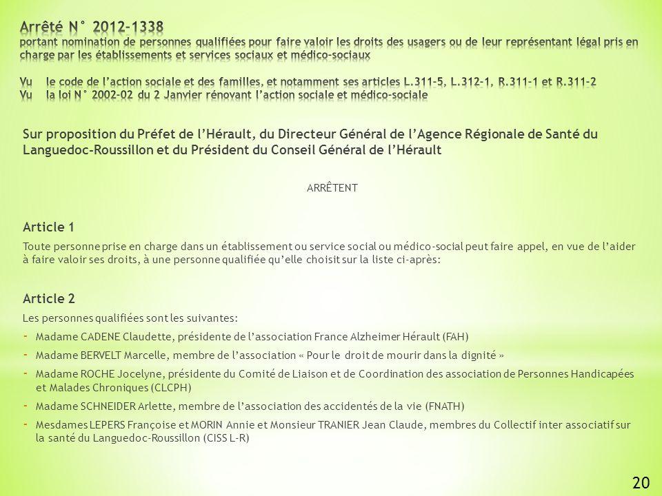 Sur proposition du Préfet de lHérault, du Directeur Général de lAgence Régionale de Santé du Languedoc-Roussillon et du Président du Conseil Général de lHérault ARRÊTENT Article 1 Toute personne prise en charge dans un établissement ou service social ou médico-social peut faire appel, en vue de laider à faire valoir ses droits, à une personne qualifiée quelle choisit sur la liste ci-après: Article 2 Les personnes qualifiées sont les suivantes: - Madame CADENE Claudette, présidente de lassociation France Alzheimer Hérault (FAH) - Madame BERVELT Marcelle, membre de lassociation « Pour le droit de mourir dans la dignité » - Madame ROCHE Jocelyne, présidente du Comité de Liaison et de Coordination des association de Personnes Handicapées et Malades Chroniques (CLCPH) - Madame SCHNEIDER Arlette, membre de lassociation des accidentés de la vie (FNATH) - Mesdames LEPERS Françoise et MORIN Annie et Monsieur TRANIER Jean Claude, membres du Collectif inter associatif sur la santé du Languedoc-Roussillon (CISS L-R) 20