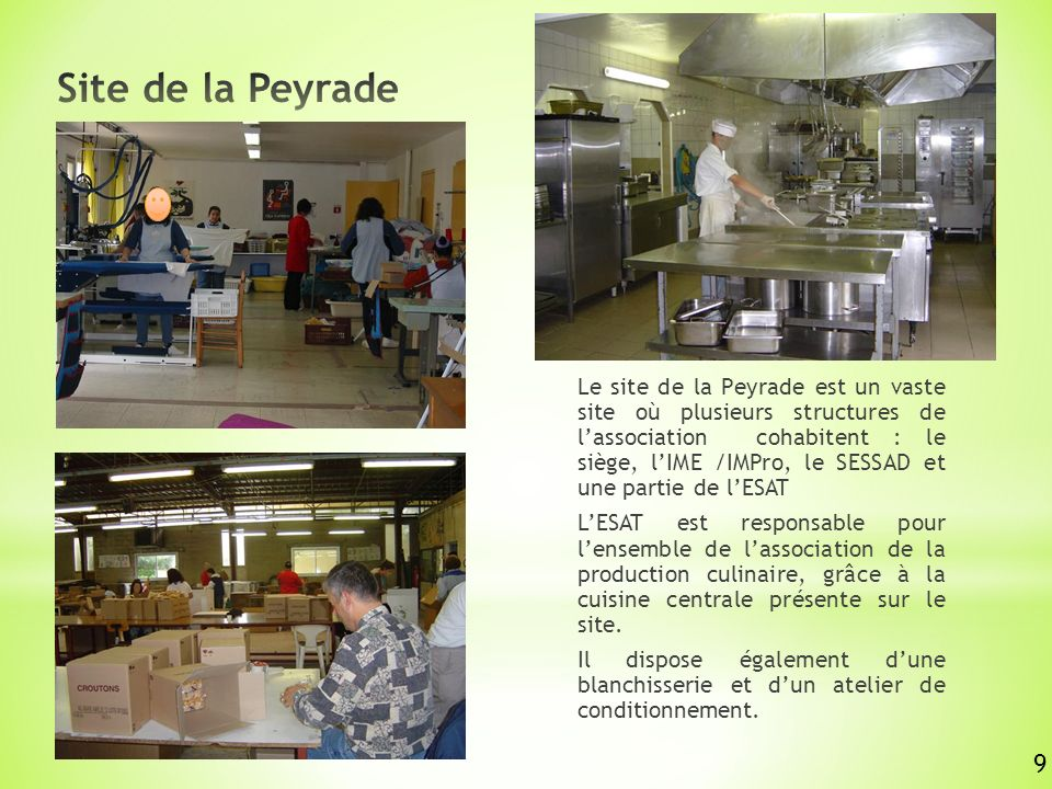 Le site de la Peyrade est un vaste site où plusieurs structures de lassociation cohabitent : le siège, lIME /IMPro, le SESSAD et une partie de lESAT LESAT est responsable pour lensemble de lassociation de la production culinaire, grâce à la cuisine centrale présente sur le site.
