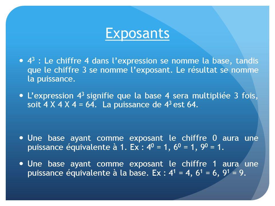 Exposants 4 3 : Le chiffre 4 dans lexpression se nomme la base, tandis que le chiffre 3 se nomme lexposant. Le résultat se nomme la puissance. Lexpres
