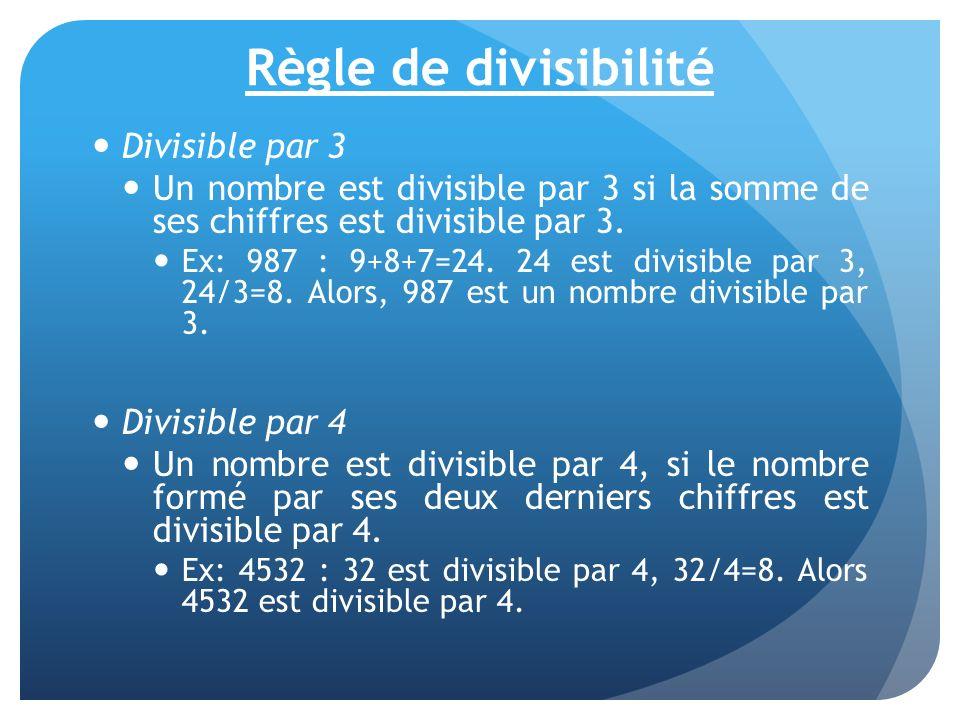 Règle de divisibilité Divisible par 3 Un nombre est divisible par 3 si la somme de ses chiffres est divisible par 3. Ex: 987 : 9+8+7=24. 24 est divisi