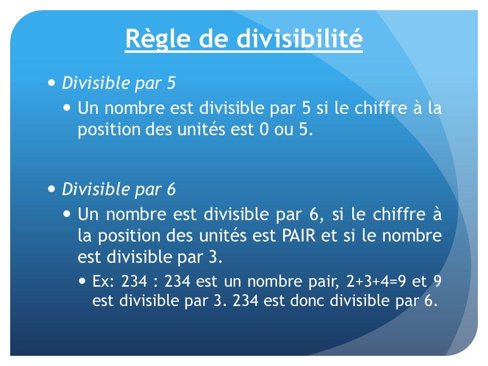 Règle de divisibilité Divisible par 5 Un nombre est divisible par 5 si le chiffre à la position des unités est 0 ou 5. Divisible par 6 Un nombre est d