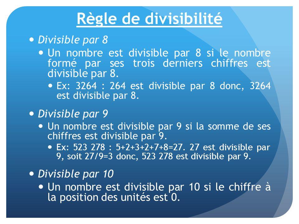 Règle de divisibilité Divisible par 8 Un nombre est divisible par 8 si le nombre formé par ses trois derniers chiffres est divisible par 8. Ex: 3264 :