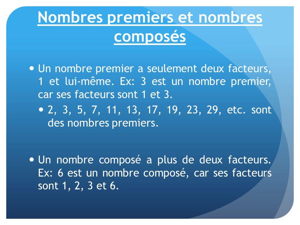 Nombres premiers et nombres composés Un nombre premier a seulement deux facteurs, 1 et lui-même. Ex: 3 est un nombre premier, car ses facteurs sont 1