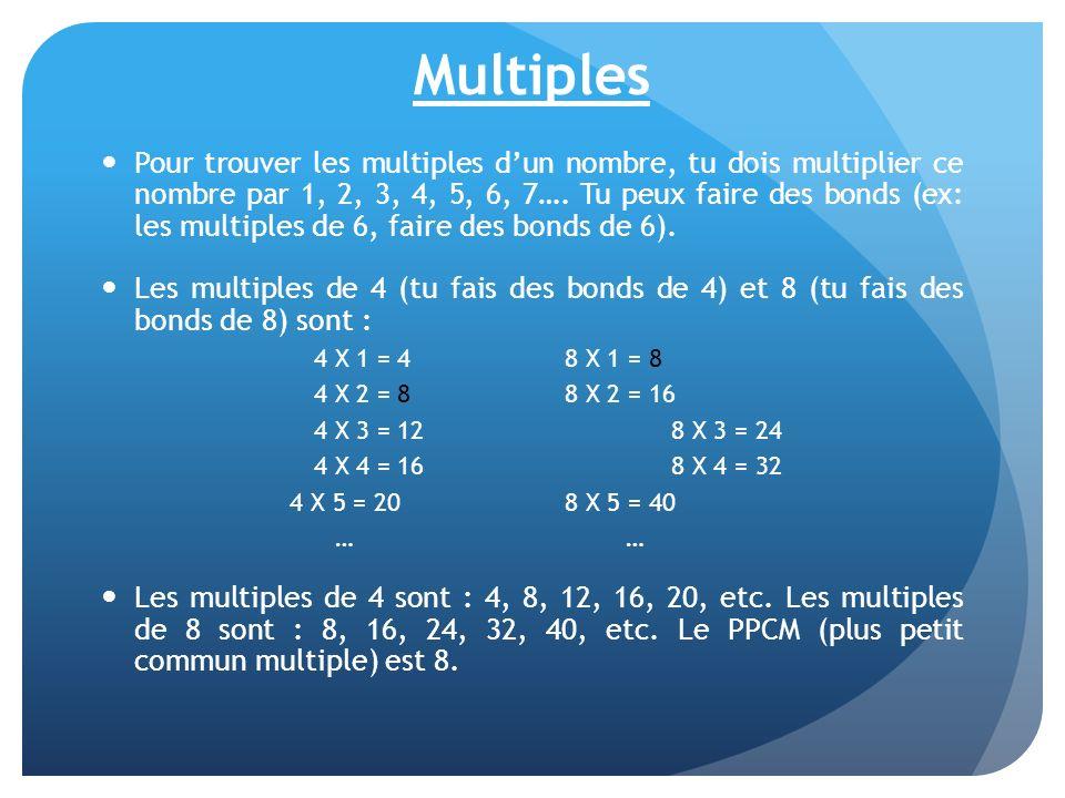 Multiples Pour trouver les multiples dun nombre, tu dois multiplier ce nombre par 1, 2, 3, 4, 5, 6, 7…. Tu peux faire des bonds (ex: les multiples de