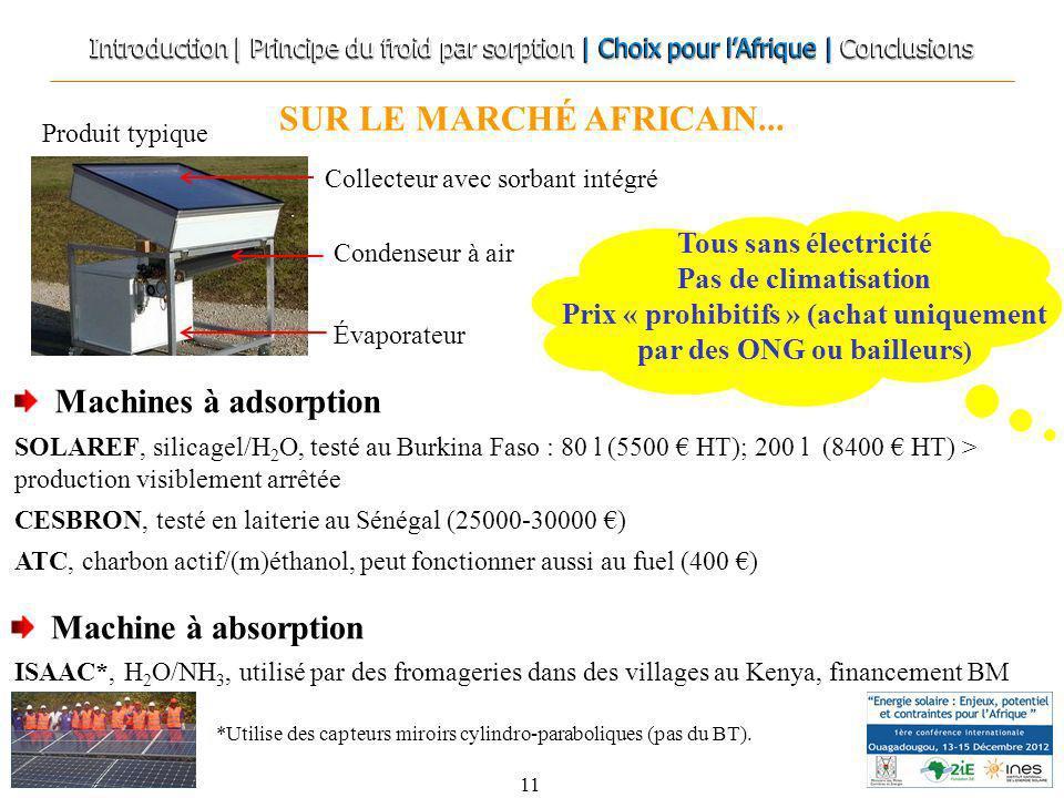 SUR LE MARCHÉ AFRICAIN... 11 Machine à absorption Machines à adsorption SOLAREF, silicagel/H 2 O, testé au Burkina Faso : 80 l (5500 HT); 200 l (8400