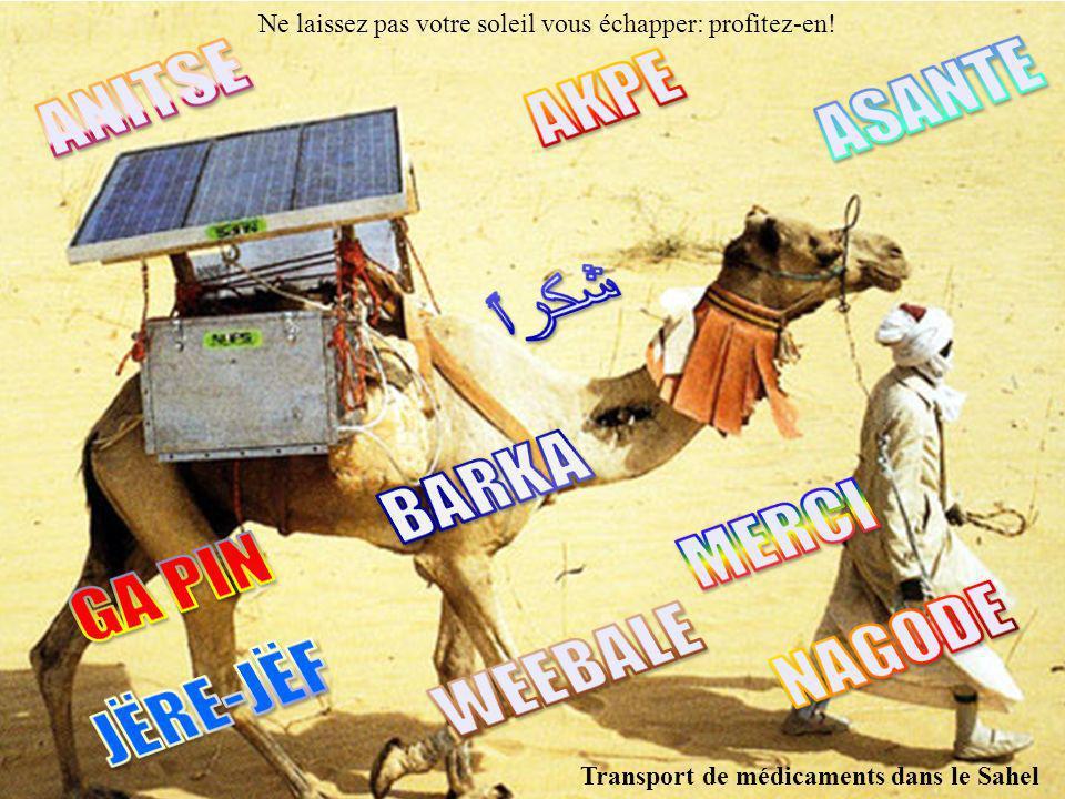 Ne laissez pas votre soleil vous échapper: profitez-en! Transport de médicaments dans le Sahel