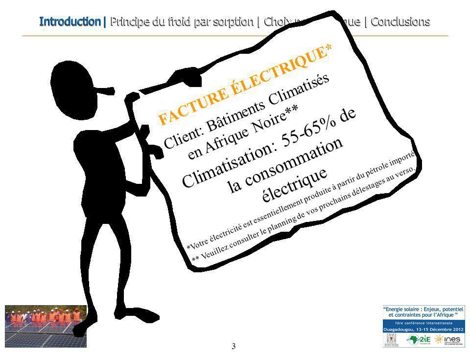 3 Climatisation: 55-65% de la consommation électrique FACTURE ÉLECTRIQUE* Client: Bâtiments Climatisés en Afrique Noire** *Votre électricité est essen
