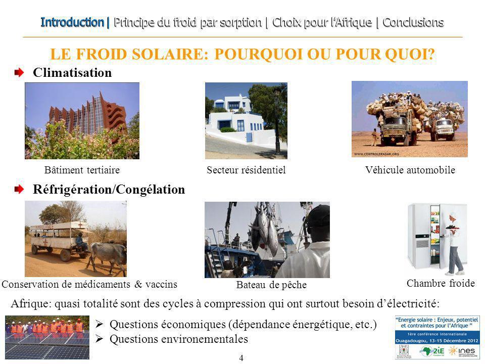LE FROID SOLAIRE: POURQUOI OU POUR QUOI? 4 Climatisation Réfrigération/Congélation Questions économiques (dépendance énergétique, etc.) Questions envi