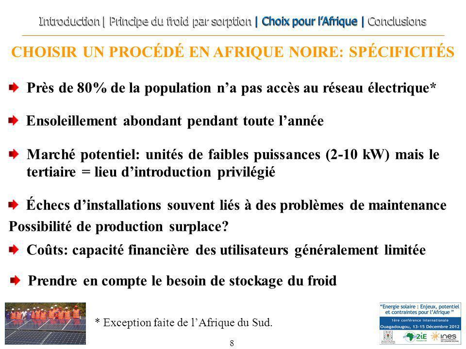 CHOISIR UN PROCÉDÉ EN AFRIQUE NOIRE: SPÉCIFICITÉS 8 Marché potentiel: unités de faibles puissances (2-10 kW) mais le tertiaire = lieu dintroduction pr