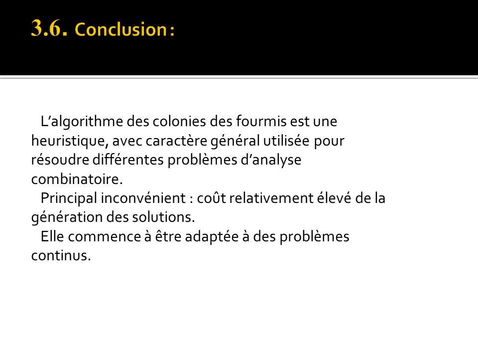 Lalgorithme des colonies des fourmis est une heuristique, avec caractère général utilisée pour résoudre différentes problèmes danalyse combinatoire. P