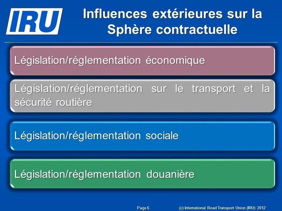 Influences extérieures sur la Sphère contractuelle Page 6 (c) International Road Transport Union (IRU) 2012 Législation/réglementation sur le transpor