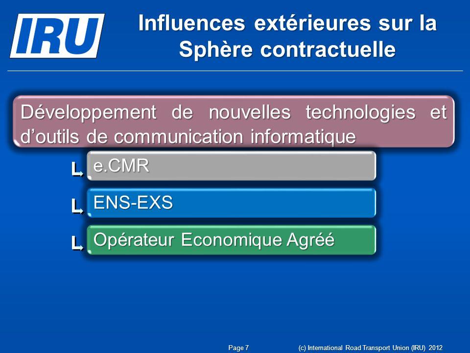 Influences extérieures sur la Sphère contractuelle Page 7 (c) International Road Transport Union (IRU) 2012 Développement de nouvelles technologies et