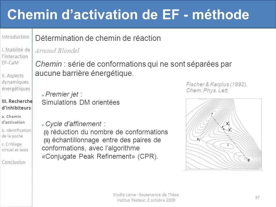 Détermination de chemin de réaction 37 Elodie Laine - Soutenance de Thèse Institut Pasteur, 2 octobre 2009 Chemin : série de conformations qui ne sont séparées par aucune barrière énergétique.