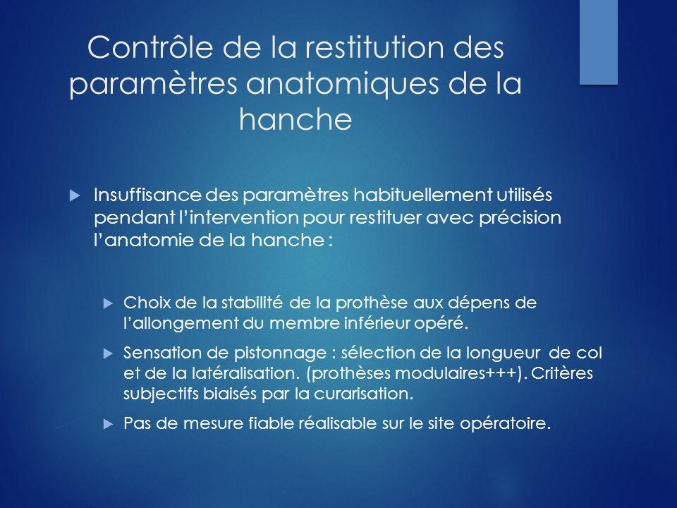 Contrôle de la restitution des paramètres anatomiques de la hanche Insuffisance des paramètres habituellement utilisés pendant lintervention pour rest