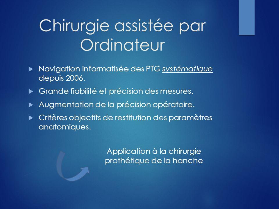 Chirurgie assistée par Ordinateur Navigation informatisée des PTG systématique depuis 2006. Grande fiabilité et précision des mesures. Augmentation de