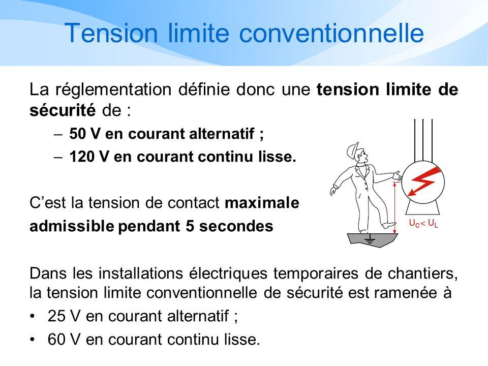 Tension limite conventionnelle La réglementation définie donc une tension limite de sécurité de : –50 V en courant alternatif ; –120 V en courant continu lisse.