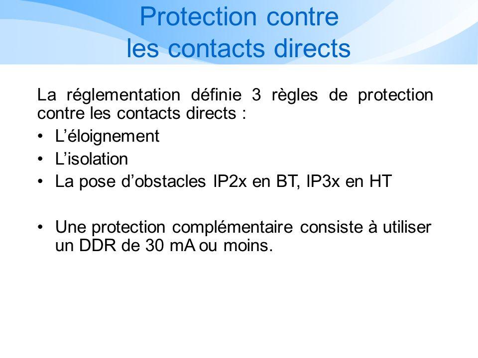Protection contre les contacts directs La réglementation définie 3 règles de protection contre les contacts directs : Léloignement Lisolation La pose dobstacles IP2x en BT, IP3x en HT Une protection complémentaire consiste à utiliser un DDR de 30 mA ou moins.
