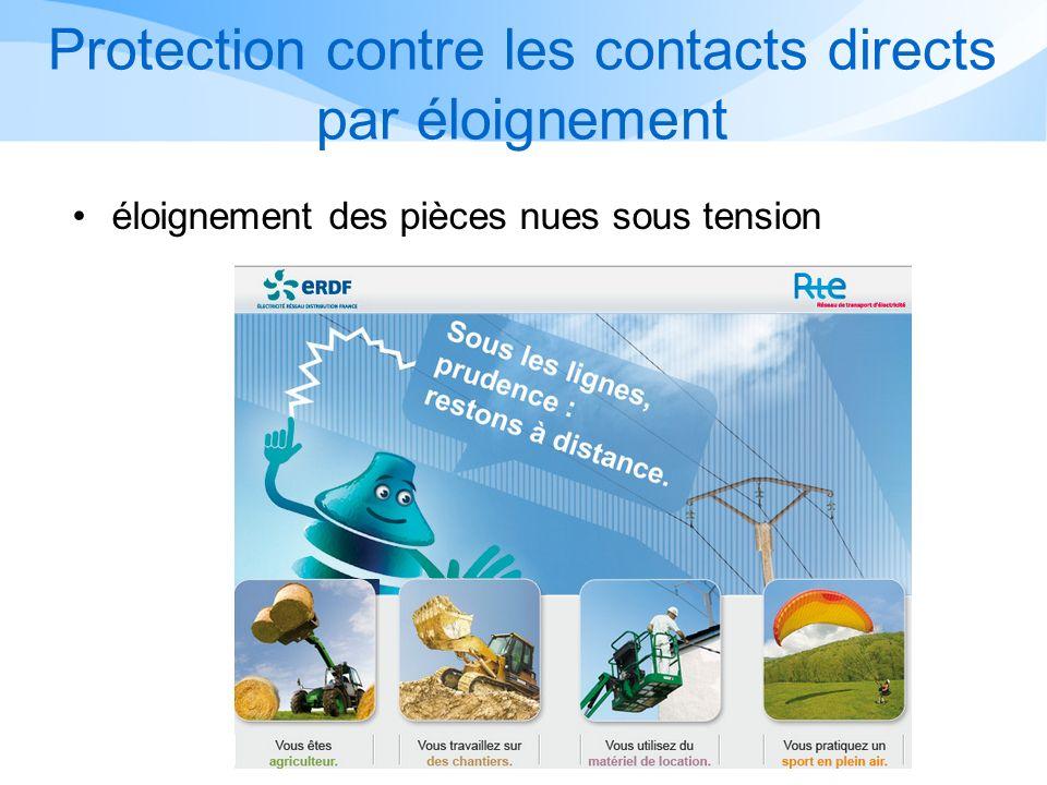 Protection contre les contacts directs La réglementation définie 3 règles de protection contre les contacts directs : Léloignement Lisolation La pose