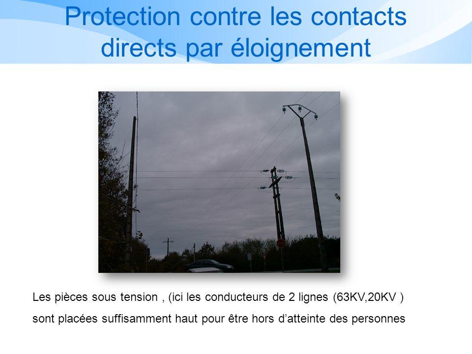 Les pièces sous tension, (ici les conducteurs de 2 lignes (63KV,20KV ) sont placées suffisamment haut pour être hors datteinte des personnes Protection contre les contacts directs par éloignement