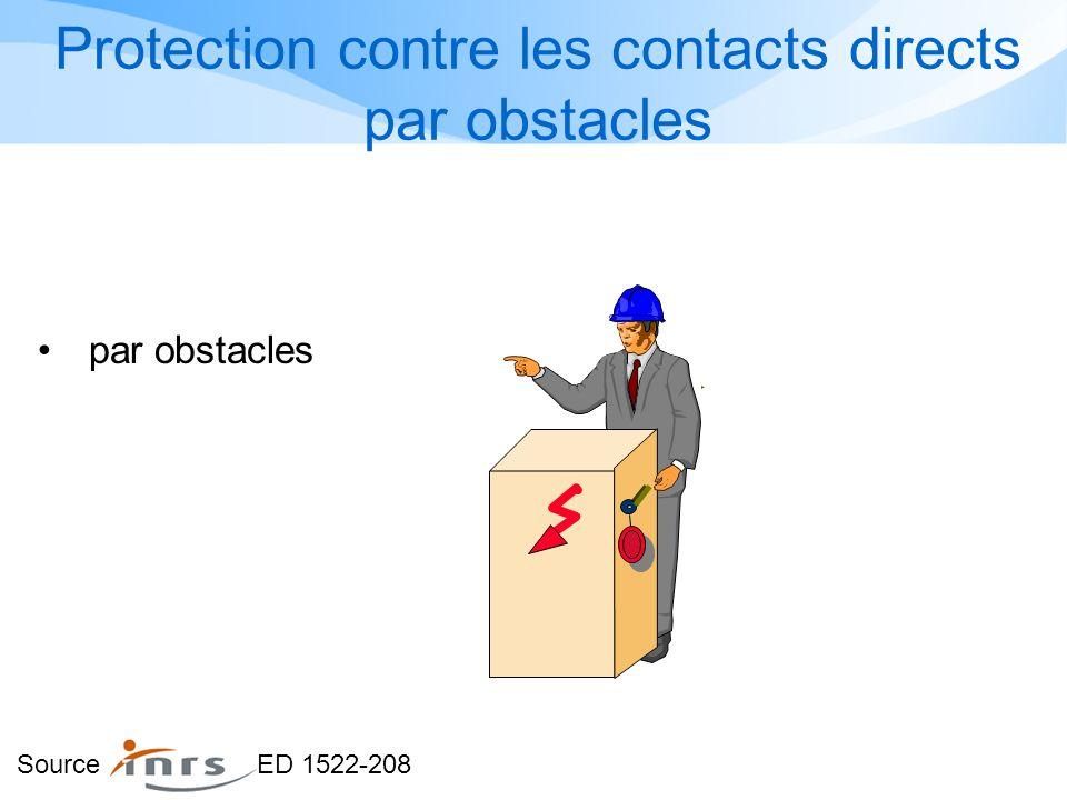 Protection contre les contacts directs par obstacles par obstacles Source ED 1522-208