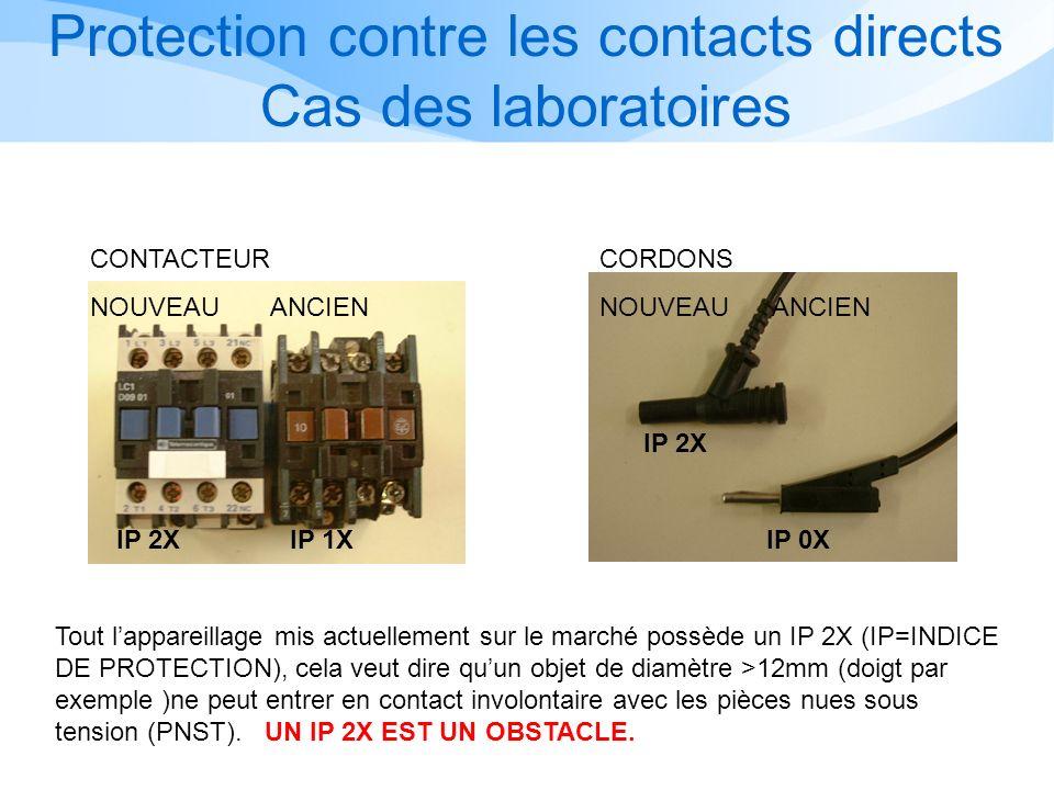 IP 2X IP 1X IP 2X IP 0X Tout lappareillage mis actuellement sur le marché possède un IP 2X (IP=INDICE DE PROTECTION), cela veut dire quun objet de diamètre >12mm (doigt par exemple )ne peut entrer en contact involontaire avec les pièces nues sous tension (PNST).