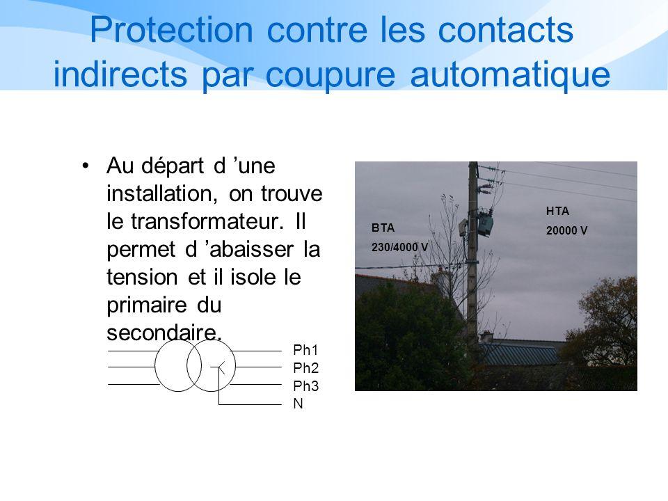 Protection contre les contacts indirects par coupure automatique Au départ d une installation, on trouve le transformateur.