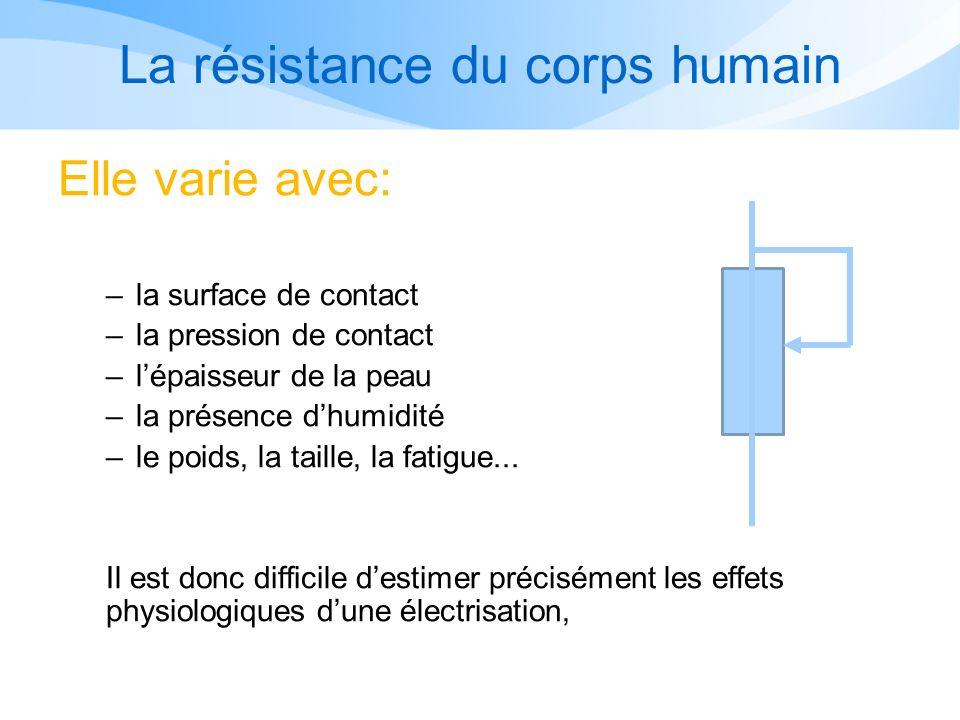 La résistance du corps humain Elle varie avec: –la surface de contact –la pression de contact –lépaisseur de la peau –la présence dhumidité –le poids, la taille, la fatigue...