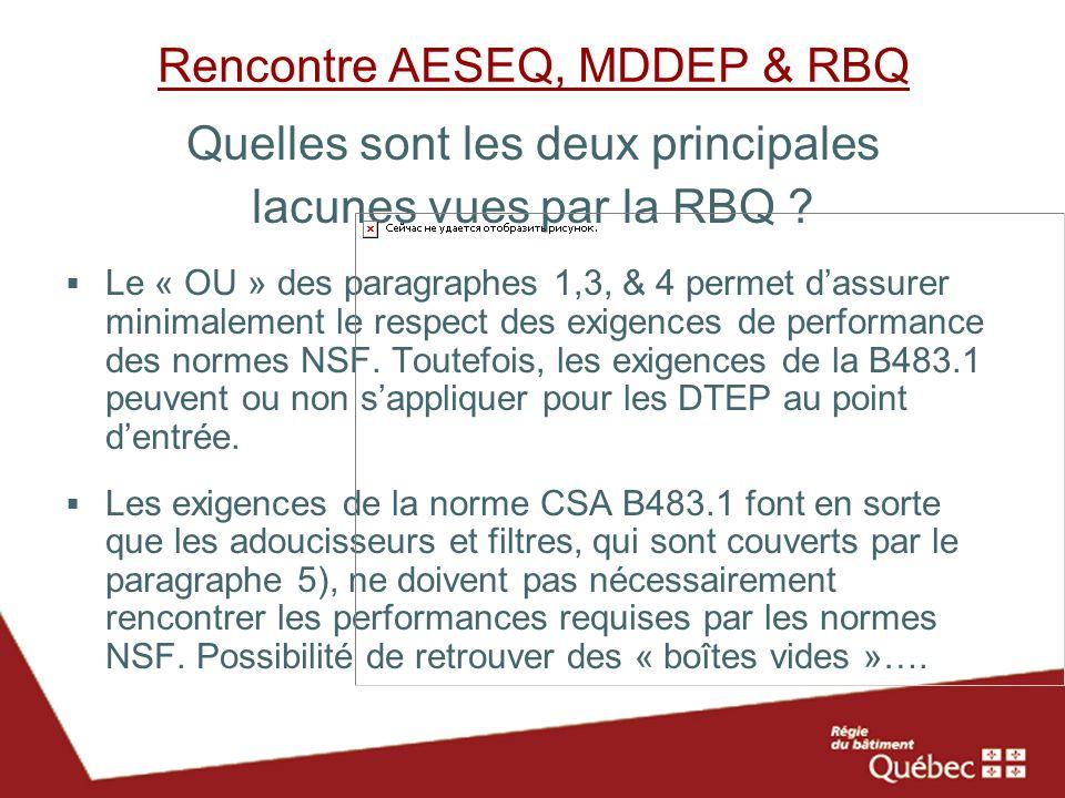 Rencontre AESEQ, MDDEP & RBQ Quelles sont les deux principales lacunes vues par la RBQ ? Le « OU » des paragraphes 1,3, & 4 permet dassurer minimaleme