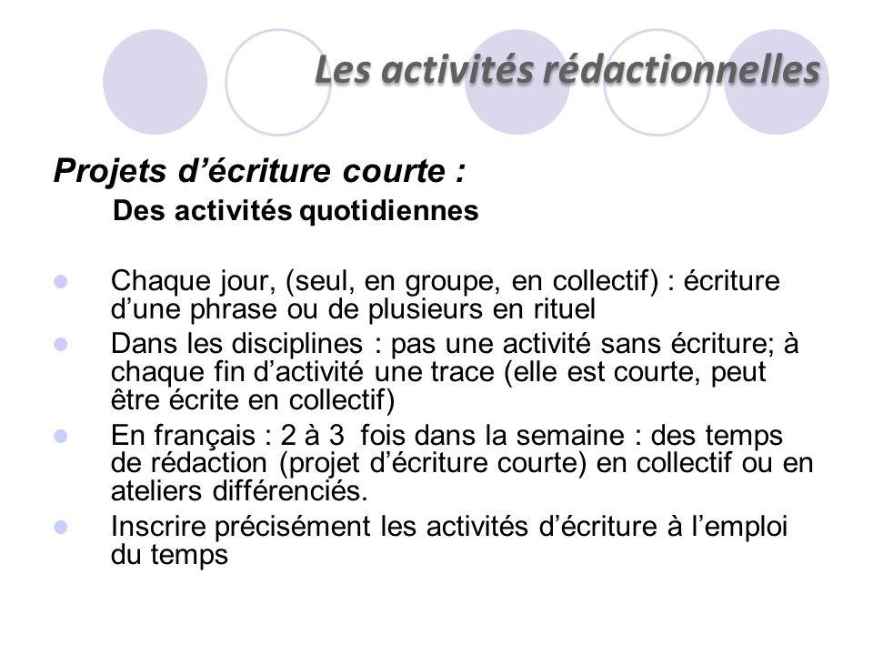 Les activités rédactionnelles Projets décriture courte : Des activités quotidiennes Chaque jour, (seul, en groupe, en collectif) : écriture dune phras