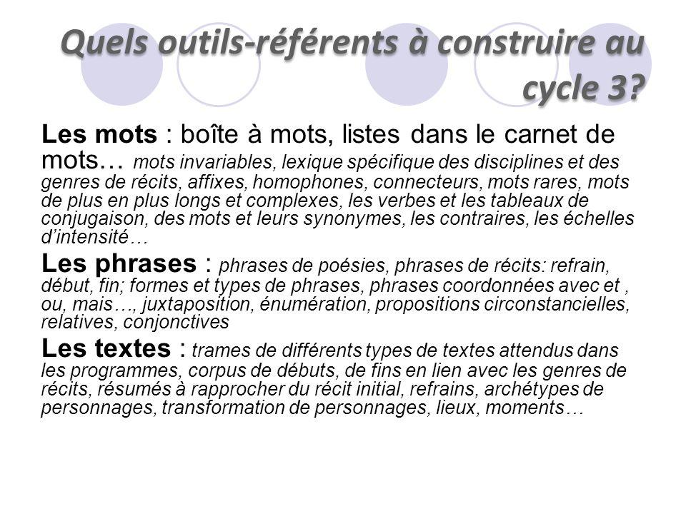 Quels outils-référents à construire au cycle 3? Les mots : boîte à mots, listes dans le carnet de mots… mots invariables, lexique spécifique des disci