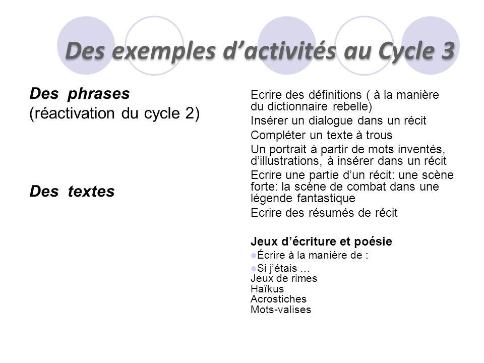 Des phrases (réactivation du cycle 2) Des textes Ecrire des définitions ( à la manière du dictionnaire rebelle) Insérer un dialogue dans un récit Comp