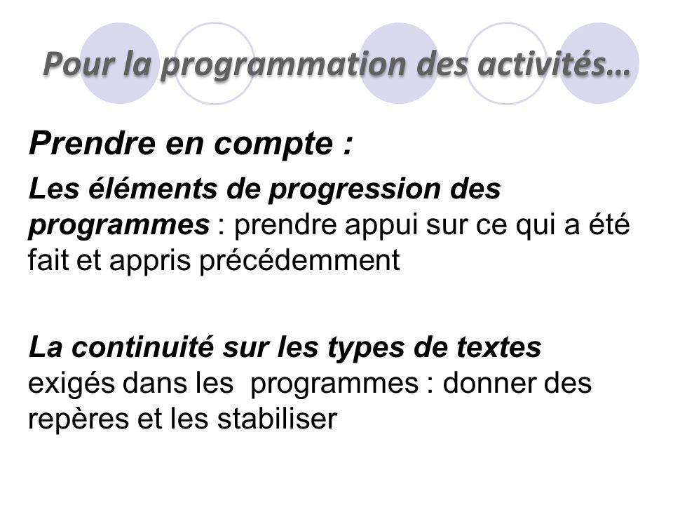 Pour la programmation des activités… Prendre en compte : Les éléments de progression des programmes : prendre appui sur ce qui a été fait et appris pr