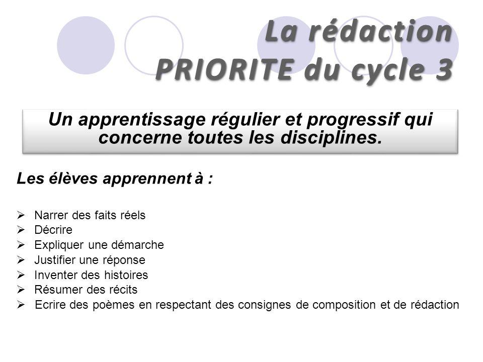La rédaction PRIORITE du cycle 3 Un apprentissage régulier et progressif qui concerne toutes les disciplines. Les élèves apprennent à : Narrer des fai