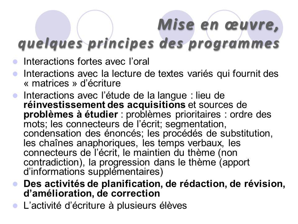 Mise en œuvre, quelques principes des programmes Interactions fortes avec loral Interactions avec la lecture de textes variés qui fournit des « matric