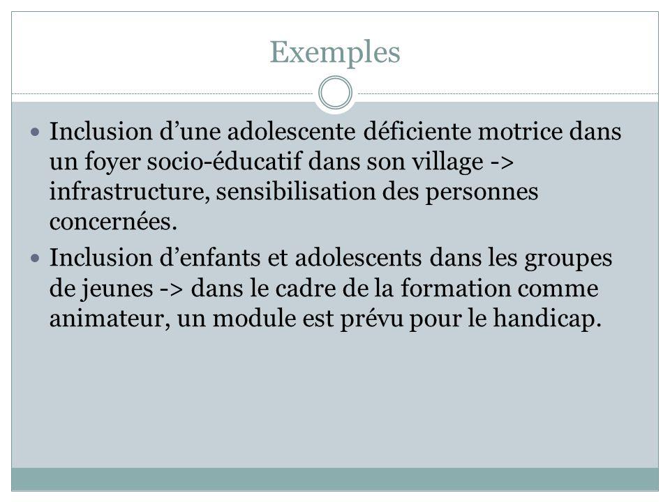 Exemples Inclusion dune adolescente déficiente motrice dans un foyer socio-éducatif dans son village -> infrastructure, sensibilisation des personnes