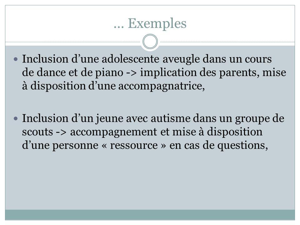 … Exemples Inclusion dune adolescente aveugle dans un cours de dance et de piano -> implication des parents, mise à disposition dune accompagnatrice,