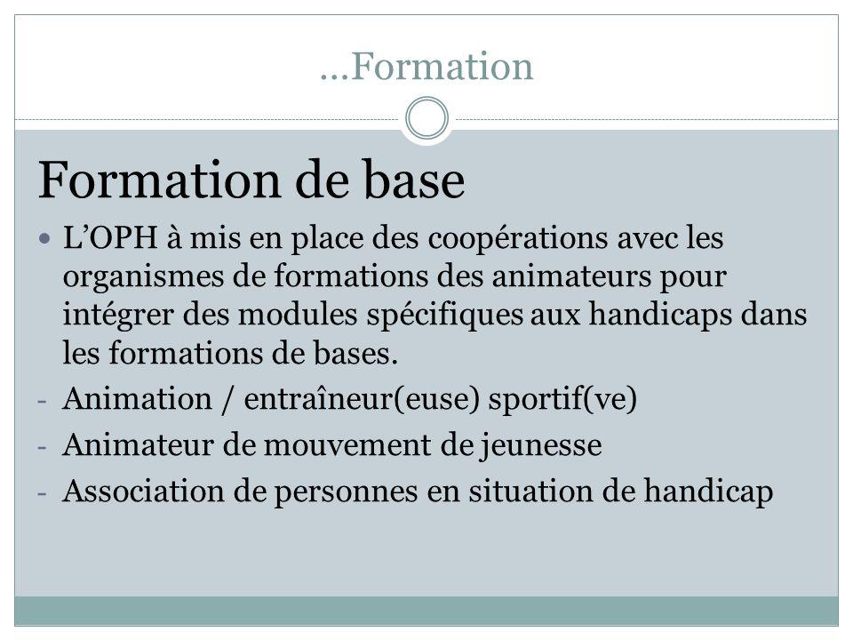 …Formation Formation de base LOPH à mis en place des coopérations avec les organismes de formations des animateurs pour intégrer des modules spécifiqu