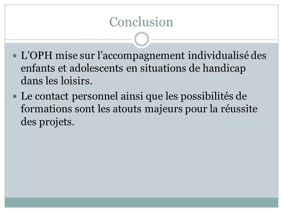 Conclusion LOPH mise sur laccompagnement individualisé des enfants et adolescents en situations de handicap dans les loisirs. Le contact personnel ain