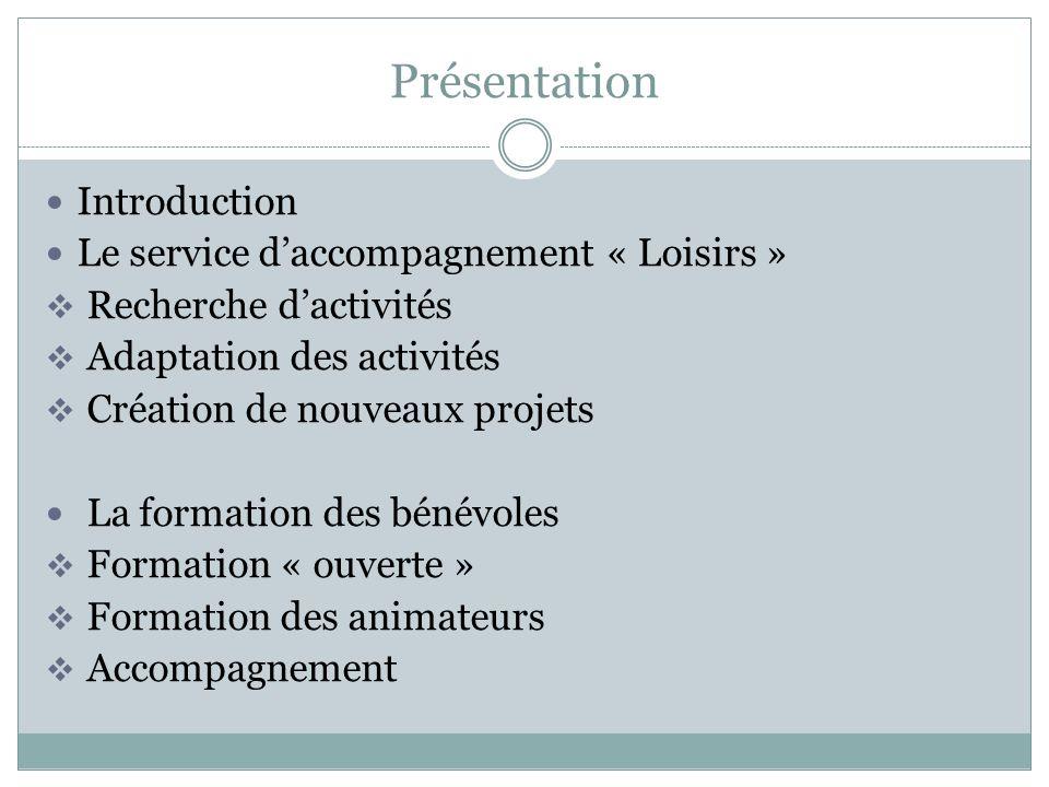 Présentation Introduction Le service daccompagnement « Loisirs » Recherche dactivités Adaptation des activités Création de nouveaux projets La formati