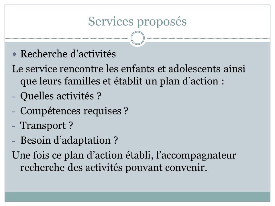 Services proposés Recherche dactivités Le service rencontre les enfants et adolescents ainsi que leurs familles et établit un plan daction : - Quelles