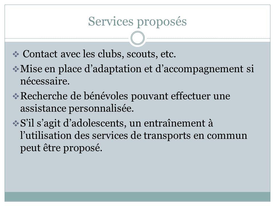 Services proposés Contact avec les clubs, scouts, etc. Mise en place dadaptation et daccompagnement si nécessaire. Recherche de bénévoles pouvant effe