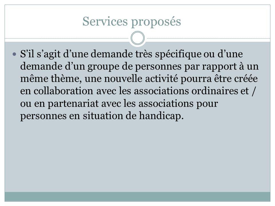 Services proposés Sil sagit dune demande très spécifique ou dune demande dun groupe de personnes par rapport à un même thème, une nouvelle activité po