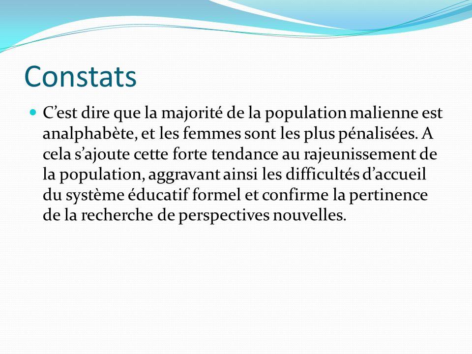 Constats Cest dire que la majorité de la population malienne est analphabète, et les femmes sont les plus pénalisées.