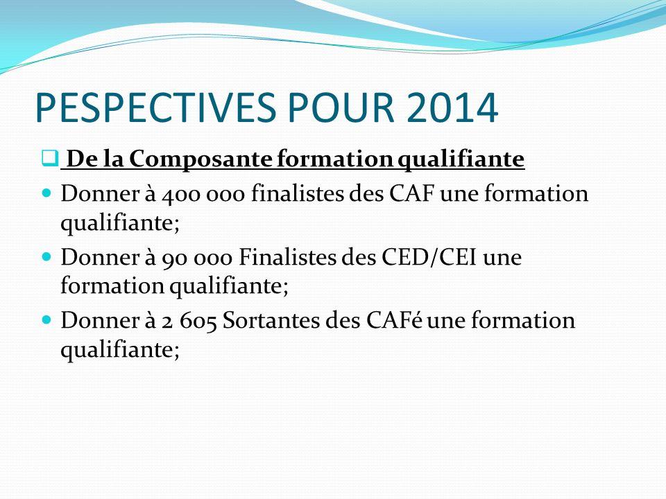 PESPECTIVES POUR 2014 De la Composante formation qualifiante Donner à 400 000 finalistes des CAF une formation qualifiante; Donner à 90 000 Finalistes des CED/CEI une formation qualifiante; Donner à 2 605 Sortantes des CAFé une formation qualifiante;