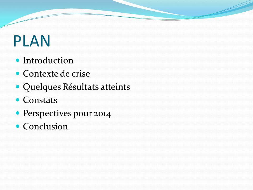 PLAN Introduction Contexte de crise Quelques Résultats atteints Constats Perspectives pour 2014 Conclusion