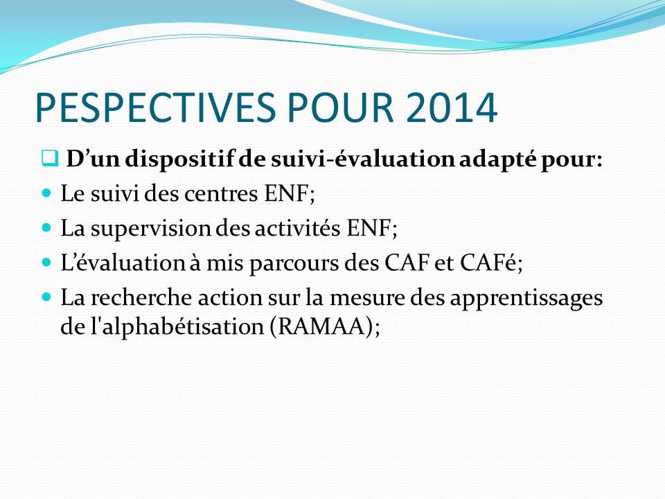 PESPECTIVES POUR 2014 Dun dispositif de suivi-évaluation adapté pour: Le suivi des centres ENF; La supervision des activités ENF; Lévaluation à mis parcours des CAF et CAFé; La recherche action sur la mesure des apprentissages de l alphabétisation (RAMAA);