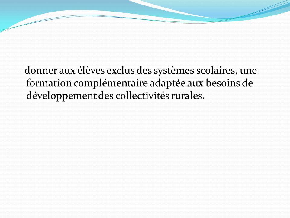 - donner aux élèves exclus des systèmes scolaires, une formation complémentaire adaptée aux besoins de développement des collectivités rurales.