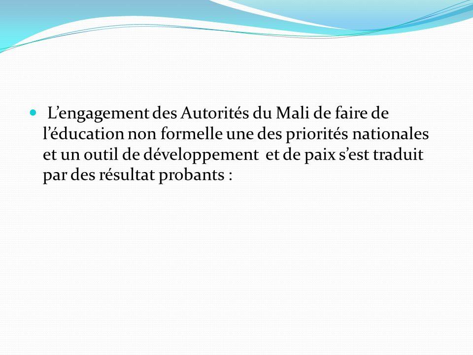 Lengagement des Autorités du Mali de faire de léducation non formelle une des priorités nationales et un outil de développement et de paix sest traduit par des résultat probants :