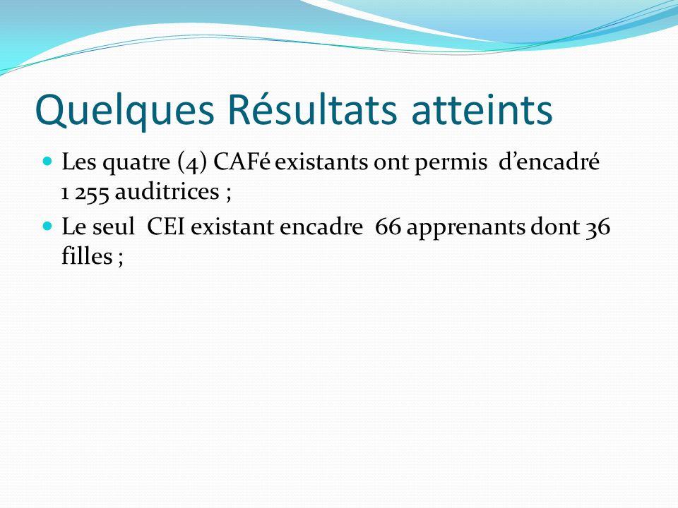 Quelques Résultats atteints Les quatre (4) CAFé existants ont permis dencadré 1 255 auditrices ; Le seul CEI existant encadre 66 apprenants dont 36 filles ;